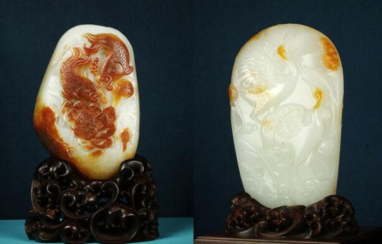 中国玉石雕刻大师王金忠的院体花鸟