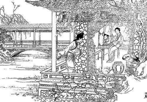 图4 沈泊尘绘制的《红楼图咏之绣鸳鸯梦兆绛芸轩》