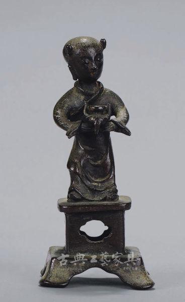 明 铜铸执炉供养人香插