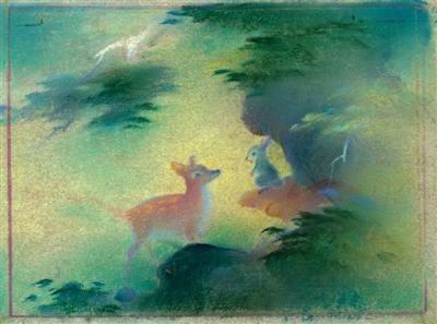 《小鹿斑比》融合了中国传统水彩绘画。