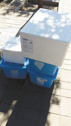 7月2日,北京知春里站的快递配送核心,5个箱子暴晒,红色泡沫箱里的蔬菜没有任何冷藏办法。