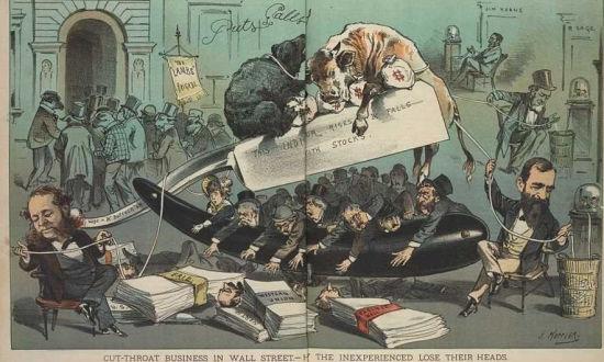 残酷的华尔街。当年的一张漫画道尽资本大战的血腥,无数的玩家在这里被斩首。