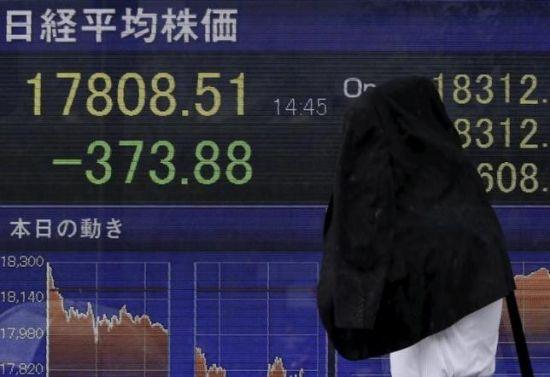 2015年9月4日在东京拍到的日经指数。 (Reuters)