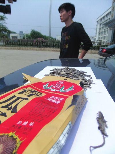 图为瓜子袋里的干瘪死老鼠。(图片来源:兰州晚报)