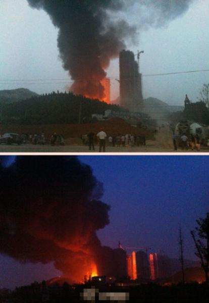 中海国际社区A5区两栋楼曾经着火画面