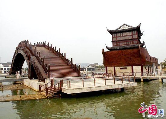 风景画丙烯拱桥