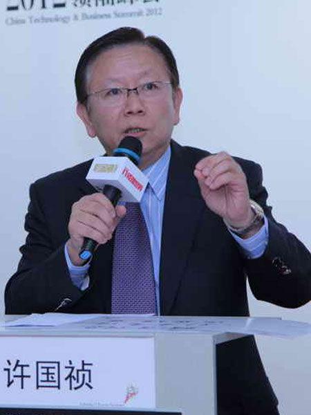 """""""2012中国技术商业领袖峰会""""于2012年11月16-17日在北京举行。上图为西门子中国有限公司副总裁西门子东北亚区企业传播总监许国祯。(图片来源:新浪财经)"""