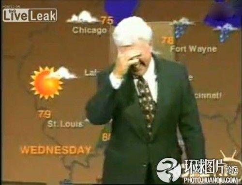 天气预报直播主持人笑场到结束