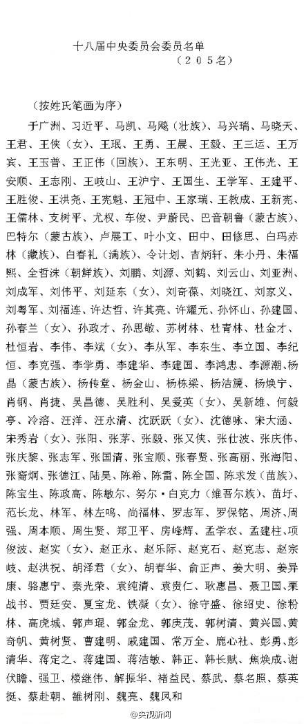 中共第十八届中央委员会委员名单公布