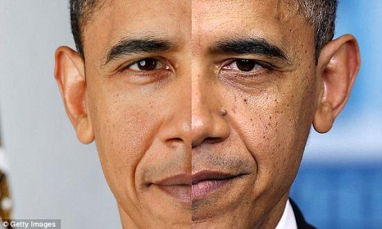 """白宫""""冠冕""""催人老。奥巴马第一任期开始与结束时的照片对比。"""