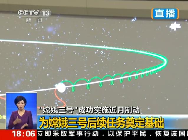嫦娥三号进入环月轨道