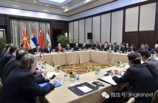 李克强与匈、塞、马三国总理开会商讨建设中欧陆海快线。