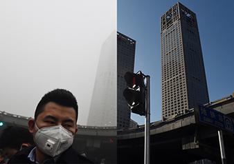 雾霾与晴天的简笔画对比图