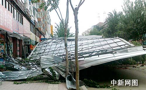 哈尔滨遭受大风天气已致2死2伤(图)