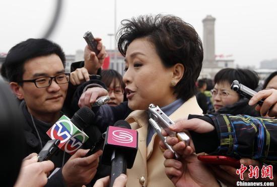 3月3日下午3时,全国政协十一届五次会议在北京人民大会堂隆重开幕。全国政协委员杨澜接受记者采访。中新社记者 杜洋 摄