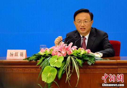 十一届全国人大五次会议6日上午举行记者会,外交部长杨洁篪就中国的对外政策和对外关系问题答记者问。中新网记者 金硕 摄