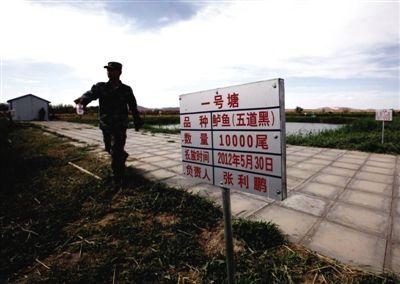 工作人员向记者介绍养鱼的情况。东风水库旁边的农场,养有羊、牛、驴等,特供航天员食用。本版摄影/新京报记者 郭铁流 摄
