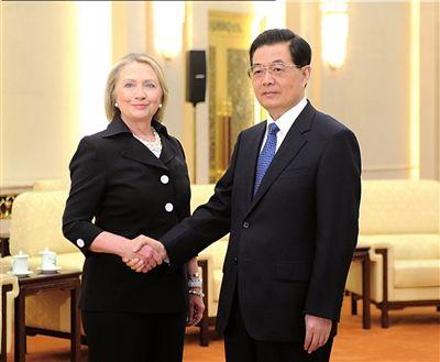 9月5日,国家主席胡锦涛在人民大会堂会见美国国务卿希拉里・克林顿。新华社发