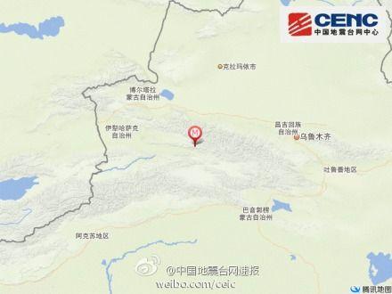 4月17日13时15分在新疆维吾尔自治区伊犁哈萨克自治州新源县(北纬43.5度,东经84.0度)发生3.0级地震,震源深度10千米。