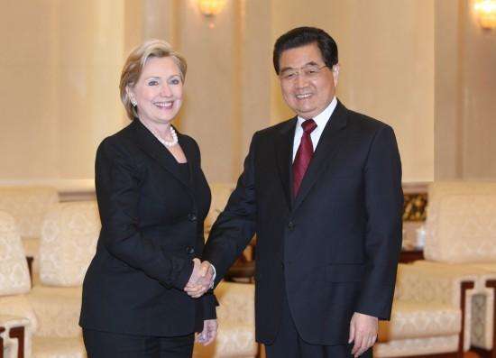 图文:胡锦涛会见美国国务卿希拉里