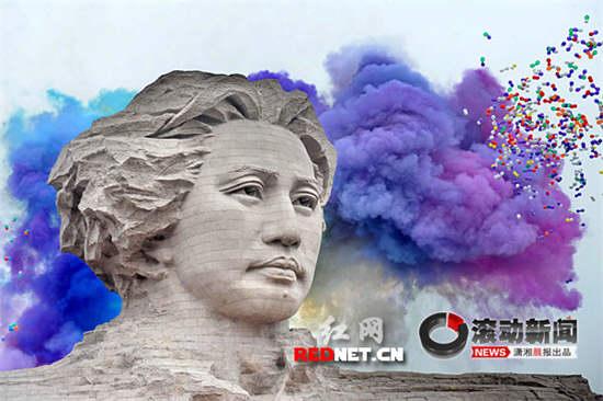 长沙橘子洲毛泽东青年雕塑揭幕(组图)