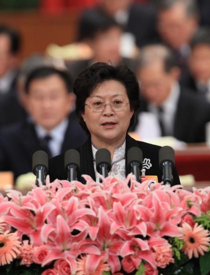 图文:甄砚委员代表全国妇联发言
