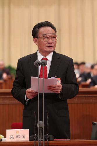 图文:吴邦国主持十一届全国人大三次会议闭幕会