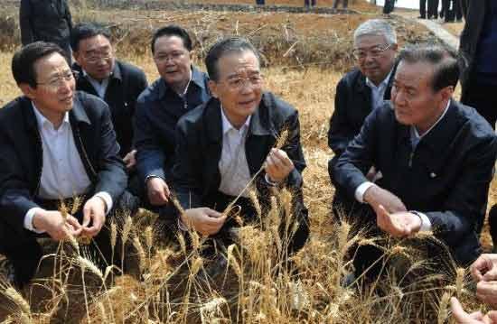 温家宝第3次赴西南考察旱情与村民一道施肥