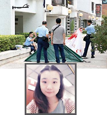 坠楼现场与内地学生生前照片。香港《大公报》图