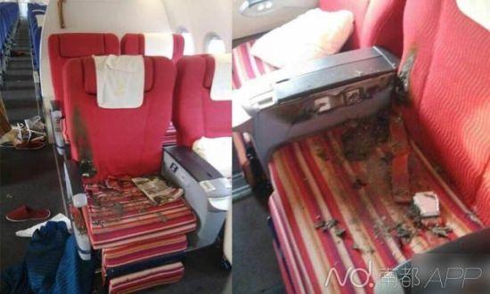 被烧毁的机上座椅