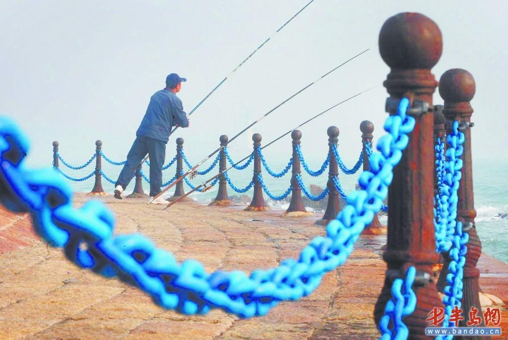 青岛海滨风景区增添锁链 有塑钢原料制成(图)