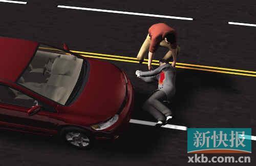 ■过路司机曹师傅将伤者抬上车送院拯救。杨志成/制图