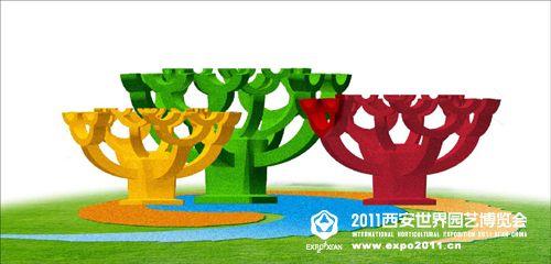《玉树临风》:把青铜树与建筑斗拱提炼成绿雕造型