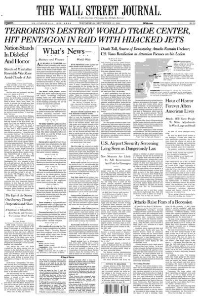 《华尔街日报》10年前凭9-11报道获普利策奖