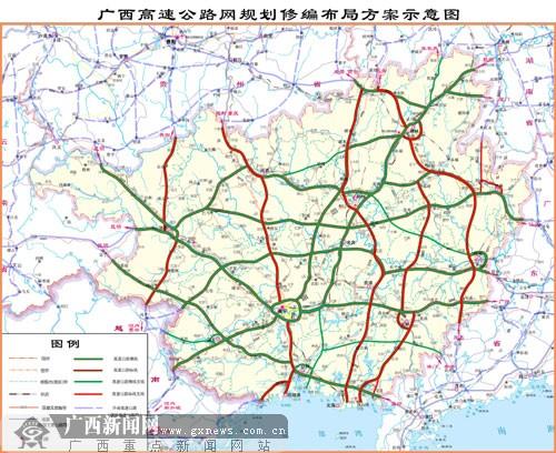 广西高速公路网规划修编布局方案示意图.