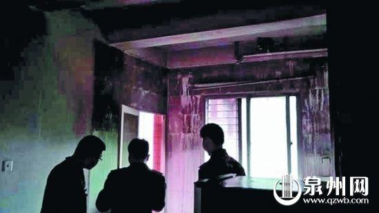 事发当晚套房主卧室失火,救火时大家都没有发现小唐的身影。(市民庄先生 供图)