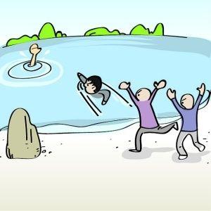 一家4口钓鱼为捞鱼竿全掉河 丈夫为救妻女溺亡