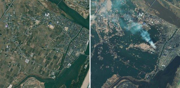 卫星图片显示日本地震引发海啸