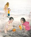红海沙滩上的童戏2010 60×50