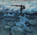 1981年 《渔归》 油画 47x47cm