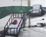 张晓刚作品赏析:《绿墙-婴儿房》