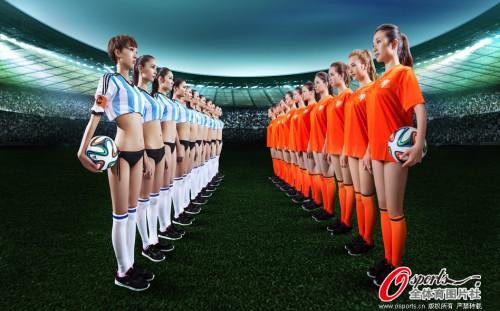 高清图-阿根廷VS荷兰足球宝贝整装待发助阵半决赛
