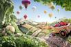 果蔬拼成风景画