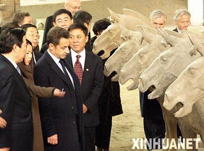 法国总统萨科齐参观秦始皇兵马俑