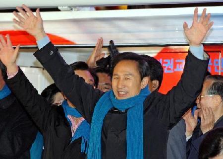韩国大选初步计票显示李明博当选总统