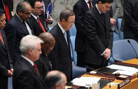 联合国安理会默哀悼念汶川大地震遇难者(组图)