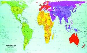 地球仪上的中国地球仪的展开图地球仪上的中国地图