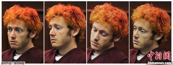 当地时间7月23日,美国科罗拉多,科罗拉多州枪击案嫌犯詹姆斯・霍姆斯首度出庭受审,引发美国各界广泛关注。(拼接图片)