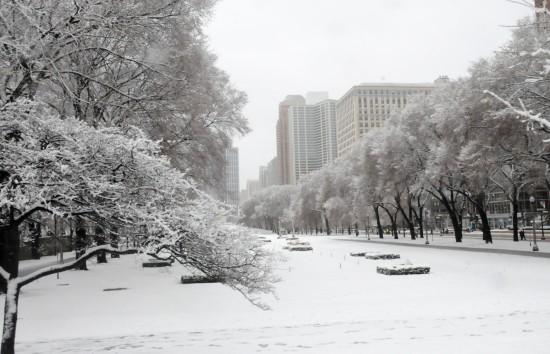 组图:美国芝加哥遭遇早春暴风雪袭击