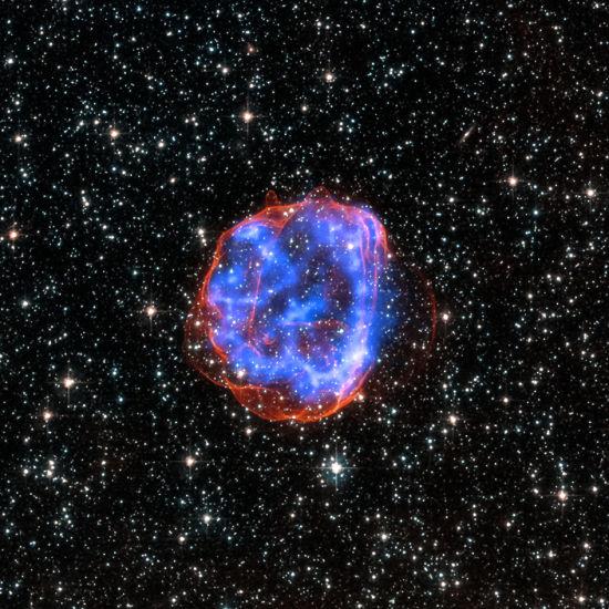 2015年1月23日消息,美国宇航局发布大麦哲伦星云中大质量星体爆炸后遗留残骸SNR 0519-69.0扩散的图片。